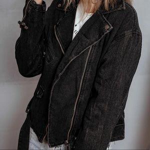 NWT Black Washed Denim Oversized Moto Jacket